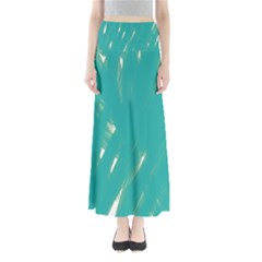 Background Green Abstract Full Length Maxi Skirt