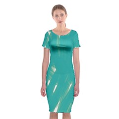 Background Green Abstract Classic Short Sleeve Midi Dress