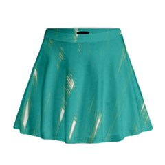 Background Green Abstract Mini Flare Skirt