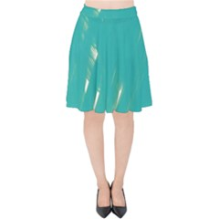 Background Green Abstract Velvet High Waist Skirt