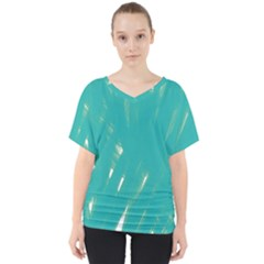 Background Green Abstract V Neck Dolman Drape Top