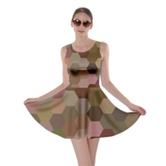 Brown Background Layout Polygon Skater Dress
