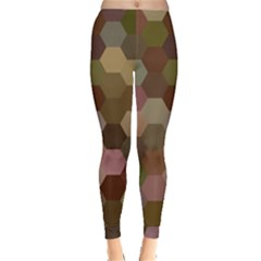 Brown Background Layout Polygon Leggings  by Nexatart
