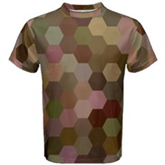 Brown Background Layout Polygon Men s Cotton Tee