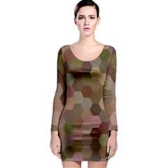 Brown Background Layout Polygon Long Sleeve Bodycon Dress