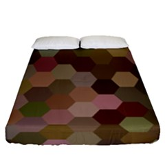 Brown Background Layout Polygon Fitted Sheet (queen Size)