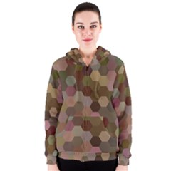 Brown Background Layout Polygon Women s Zipper Hoodie