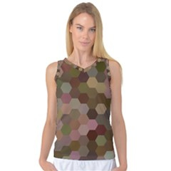 Brown Background Layout Polygon Women s Basketball Tank Top