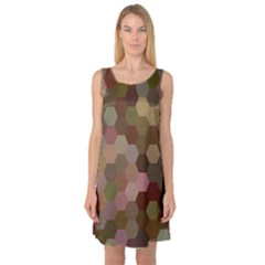 Brown Background Layout Polygon Sleeveless Satin Nightdress
