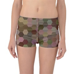 Brown Background Layout Polygon Boyleg Bikini Bottoms