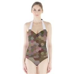Brown Background Layout Polygon Halter Swimsuit by Nexatart
