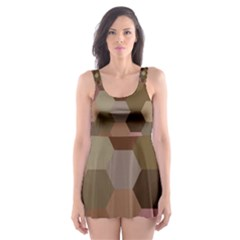 Brown Background Layout Polygon Skater Dress Swimsuit
