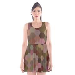 Brown Background Layout Polygon Scoop Neck Skater Dress