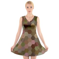 Brown Background Layout Polygon V Neck Sleeveless Skater Dress