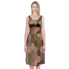 Brown Background Layout Polygon Midi Sleeveless Dress