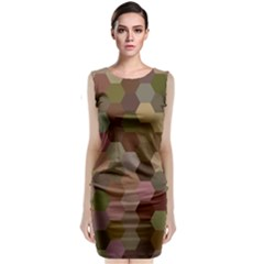 Brown Background Layout Polygon Classic Sleeveless Midi Dress