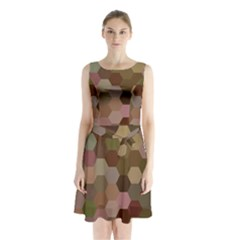 Brown Background Layout Polygon Sleeveless Waist Tie Chiffon Dress