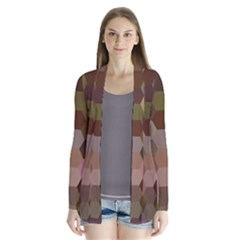 Brown Background Layout Polygon Drape Collar Cardigan