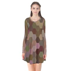 Brown Background Layout Polygon Flare Dress