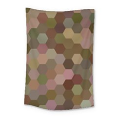 Brown Background Layout Polygon Small Tapestry by Nexatart