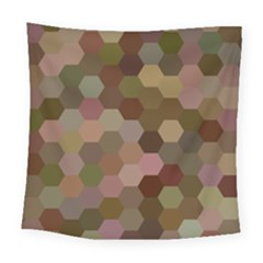 Brown Background Layout Polygon Square Tapestry (large)
