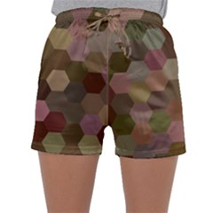 Brown Background Layout Polygon Sleepwear Shorts