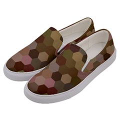 Brown Background Layout Polygon Men s Canvas Slip Ons by Nexatart