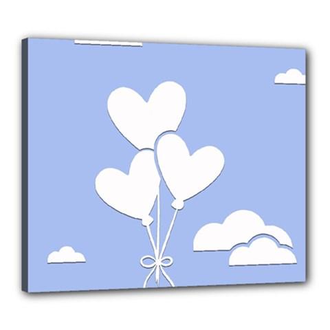 Clouds Sky Air Balloons Heart Blue Canvas 24  X 20