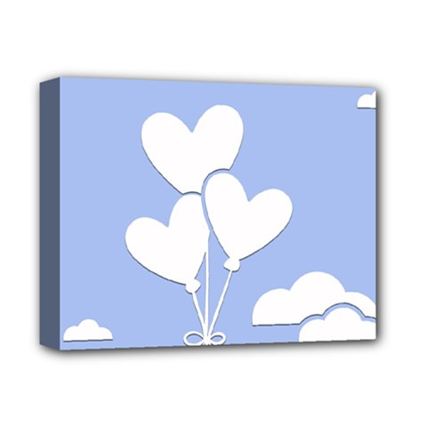 Clouds Sky Air Balloons Heart Blue Deluxe Canvas 14  X 11  by Nexatart
