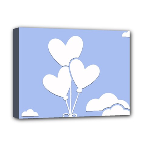 Clouds Sky Air Balloons Heart Blue Deluxe Canvas 16  X 12   by Nexatart