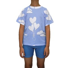 Clouds Sky Air Balloons Heart Blue Kids  Short Sleeve Swimwear