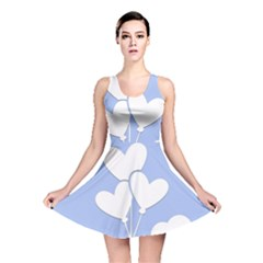 Clouds Sky Air Balloons Heart Blue Reversible Skater Dress