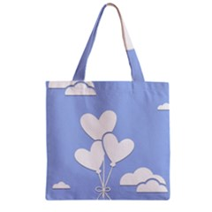 Clouds Sky Air Balloons Heart Blue Zipper Grocery Tote Bag