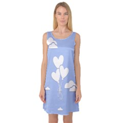 Clouds Sky Air Balloons Heart Blue Sleeveless Satin Nightdress
