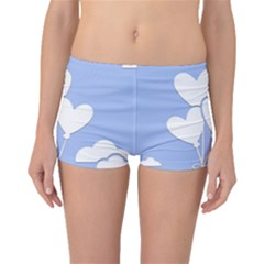 Clouds Sky Air Balloons Heart Blue Boyleg Bikini Bottoms
