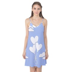 Clouds Sky Air Balloons Heart Blue Camis Nightgown