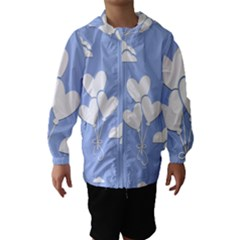 Clouds Sky Air Balloons Heart Blue Hooded Wind Breaker (kids)