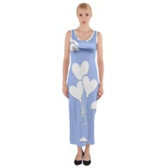 Clouds Sky Air Balloons Heart Blue Fitted Maxi Dress by Nexatart
