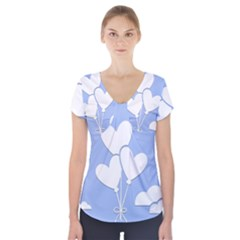 Clouds Sky Air Balloons Heart Blue Short Sleeve Front Detail Top