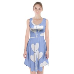 Clouds Sky Air Balloons Heart Blue Racerback Midi Dress