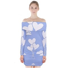 Clouds Sky Air Balloons Heart Blue Long Sleeve Off Shoulder Dress