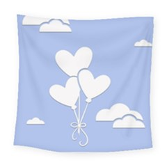 Clouds Sky Air Balloons Heart Blue Square Tapestry (large)