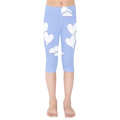 Clouds Sky Air Balloons Heart Blue Kids  Capri Leggings