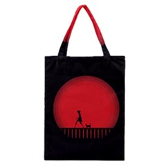 Girl Cat Scary Red Animal Pet Classic Tote Bag