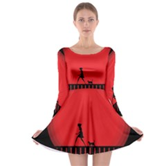 Girl Cat Scary Red Animal Pet Long Sleeve Skater Dress