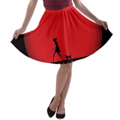 Girl Cat Scary Red Animal Pet A Line Skater Skirt