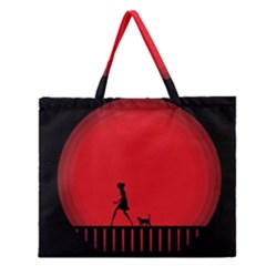 Girl Cat Scary Red Animal Pet Zipper Large Tote Bag by Nexatart