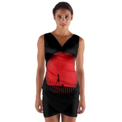 Girl Cat Scary Red Animal Pet Wrap Front Bodycon Dress by Nexatart