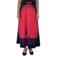 Girl Cat Scary Red Animal Pet Flared Maxi Skirt