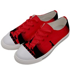 Girl Cat Scary Red Animal Pet Men s Low Top Canvas Sneakers by Nexatart